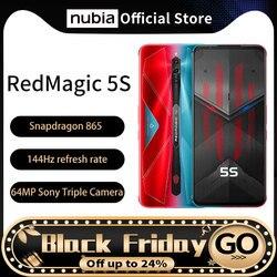 Глобальная прошивка, оригинал, Nubia красный Магия 5S игровой мобильный телефон 6,65 ''144 Гц AMOLED, 16 ГБ 256 Snapdragon 865 рамка RedMagic 5S Wi-Fi 6