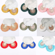Oval Hollow Tassel Dangle Earring For Women Multicolor Cotton Fabric Drop Earrings Fashion Bohemian Jewelry wholesale 2019 New