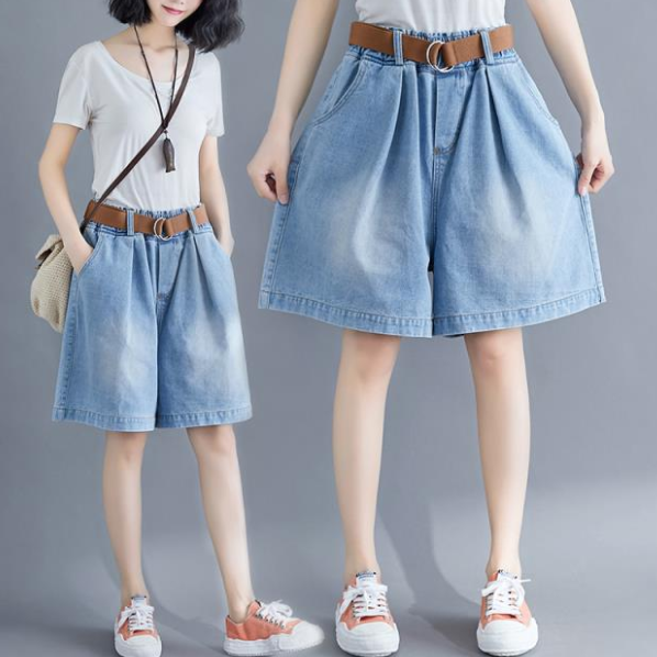 Gorące luźne Plus Size damskie spodenki jeansowe ponadgabarytowe szerokie nogawki krótkie Jean Femme w pasie spodenki chłopięce dżinsy z paskiem AQ703