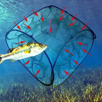 Red de pesca automática reforzada con jaula de Camarón, plegable, de nailon, red de pesca