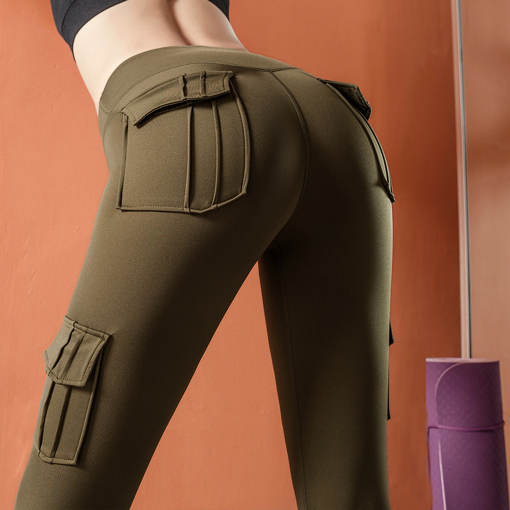 2019 Europe And America New Style Peach Hip Yoga Pants High-waisted Pocket Bib Overall Running Sports Yoga Pants Women's