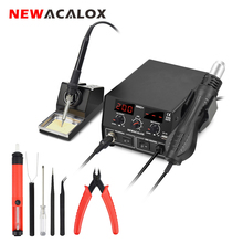NEWACALOX 886D EU/US 750W Digital 2 in 1 Soldering Station Soldering Iron Hot Air Rework Station Heat Gun Blow Dryer Desoldering