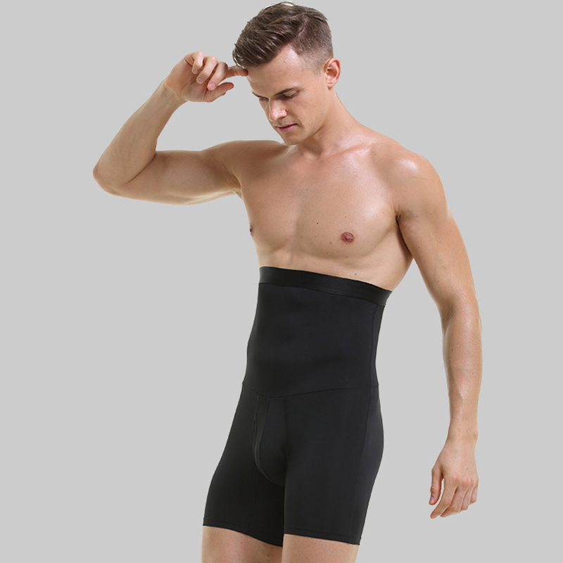 Men Shaper Pants Slimming Compression Double Layers Quick Dry Body Shaper Stomach Abdomen Girdle Shorts