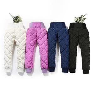 Image 4 - Girl Pants Winter 90% Down Thick Warm Ski Pants Girls Trousers Leggings Elastic High Waisted Kid Pant 3 16 Years