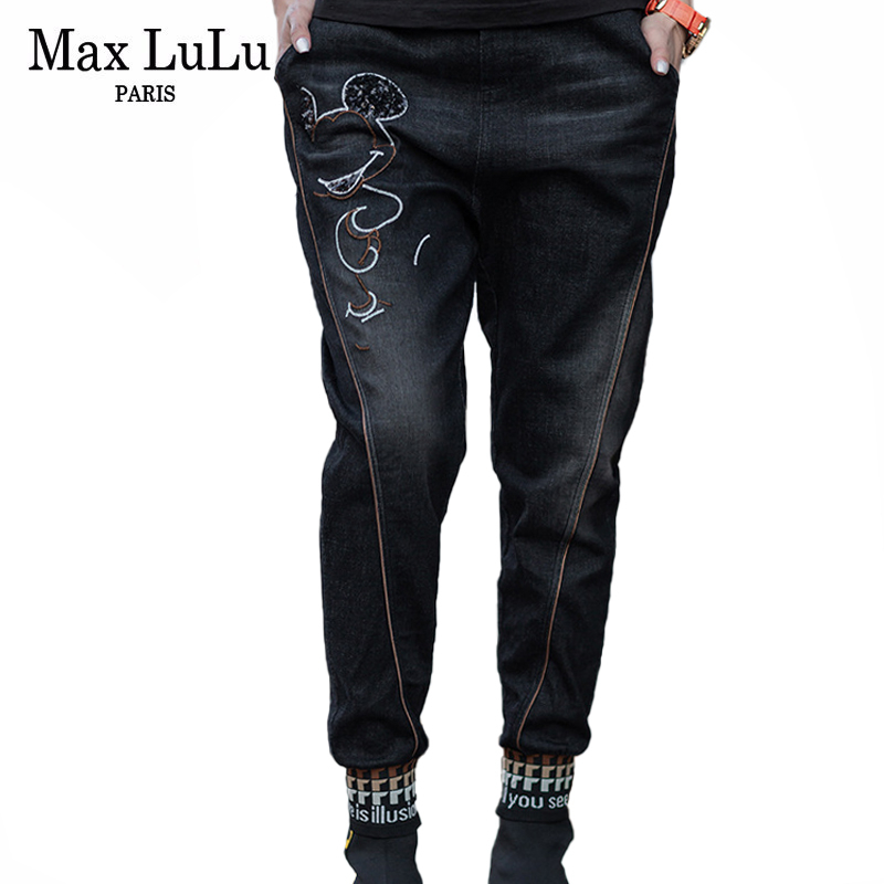 Max LuLu New 2020 Spring Korean Fashion Ladies Sequins Patchwork Jeans Womens Elastic Harem Pants Loose Denim Trousers Plus Size