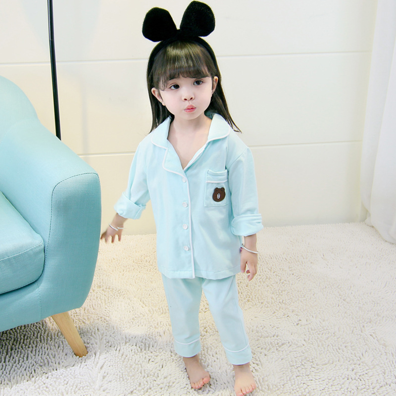 Long Zhi Yuan Childrenswear 2018 Autumn Girls Pure Cotton Pajamas Suit Children Summer Home Air Conditioning Clothes
