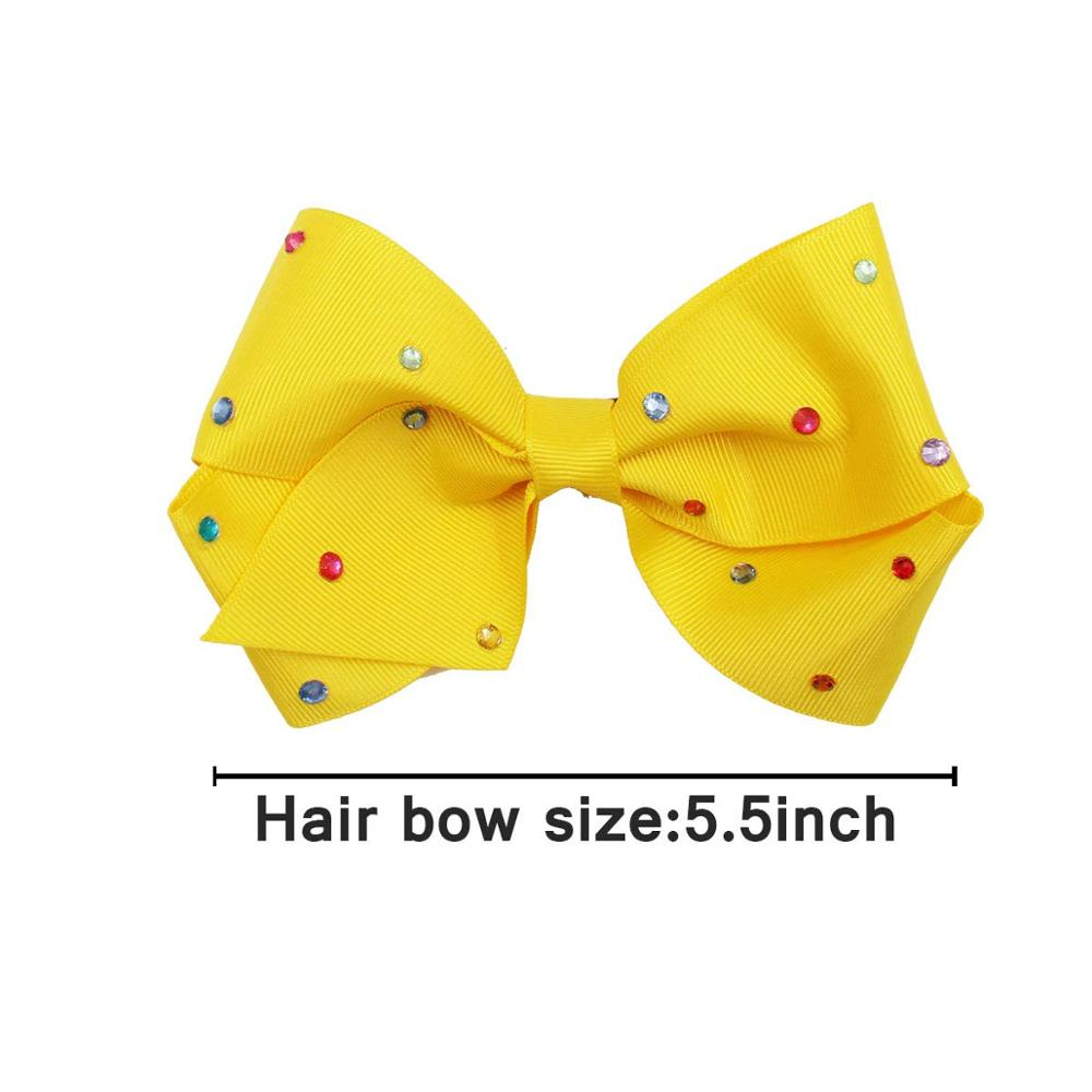 Image 3 - 20PCS 5.5Inch Large Big Rainbow Hair Bows Clips Sparkly Glitter Rhinestones Hair Bows French Clips for Girls Women Lady-in Hair Accessories from Mother & Kids