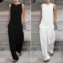 80% HOT SALES!!!Plus Size Women Summer Solid Color V Neck Jumpsuit Harem Pants Sleeveless Romper