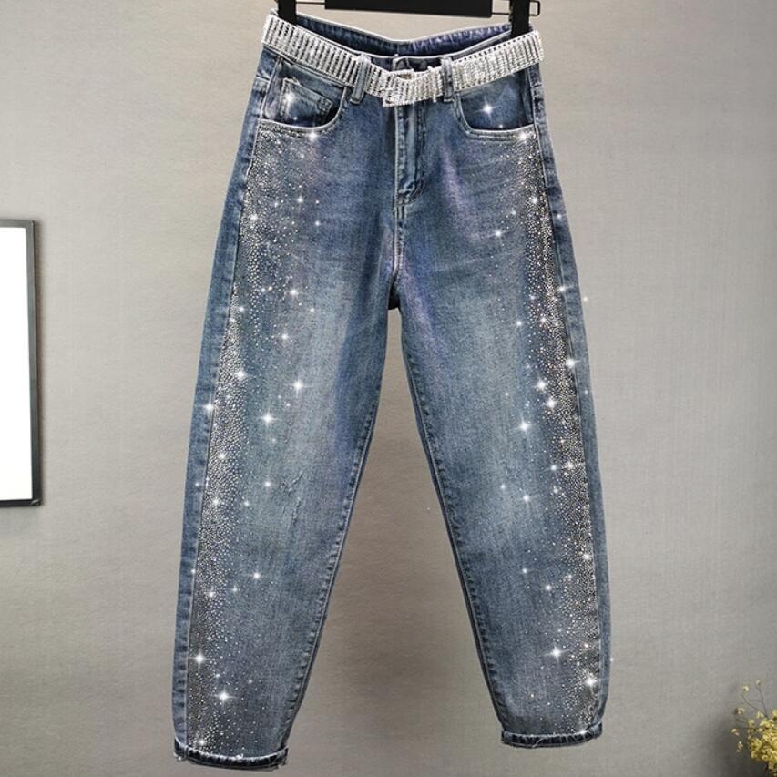 Hot Rhinestone Jeans Women 2020 Spring New Fashion High Waist Loose Cross Pants Plus Size 26-32