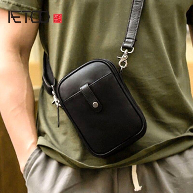 AETOO homme diagonale sac croisé cuir mini décontracté sac à bandoulière petit sac personnalité vintage marque première couche cuir mobile p