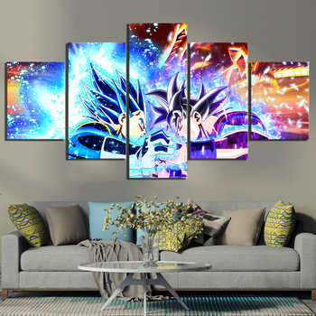 Canvas Painting 5 Piece Animation Goku Dragon Ball Printed Wall Pictures Home Decor For Living Room Poster