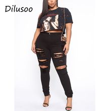 Jeans Pants High-Waist Woman Fat-Trouser Elastic Ripped Skinny Black Plus-Size Lady Dilusoo