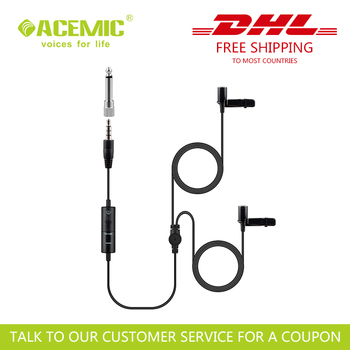 Pack of 20PCS Wired Dual-Mic Lavalier Microphone for Smartphones, DSLR, Camcorders, PC, Mixer etc 6 Meter