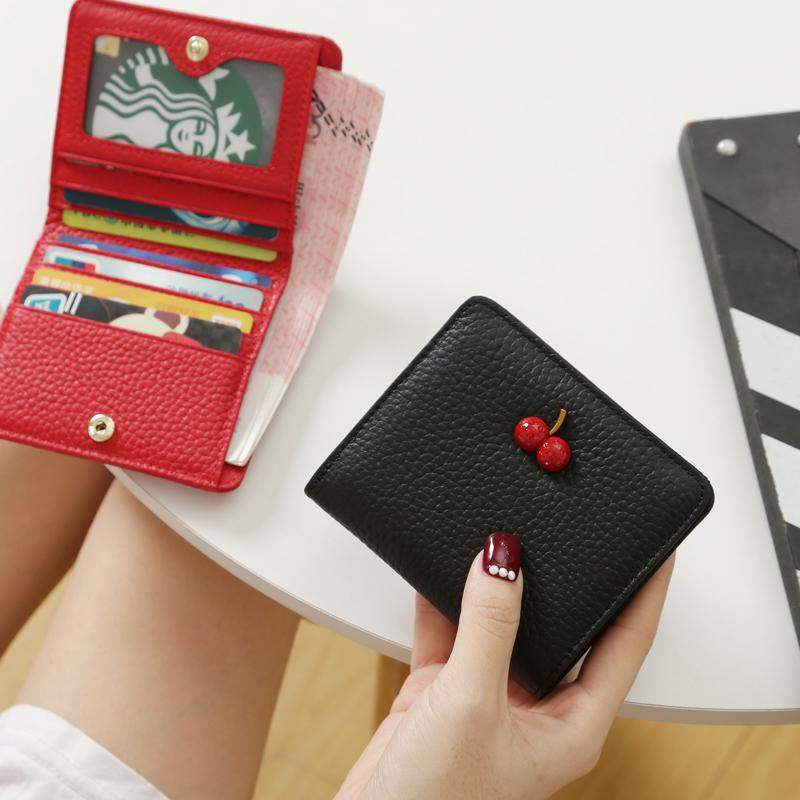 Genuine Leather Small Mini Ultra-thin Wallets Women Compact Wallets Simple Small Cherry Wallet Cowhide Card Holder Short Purse