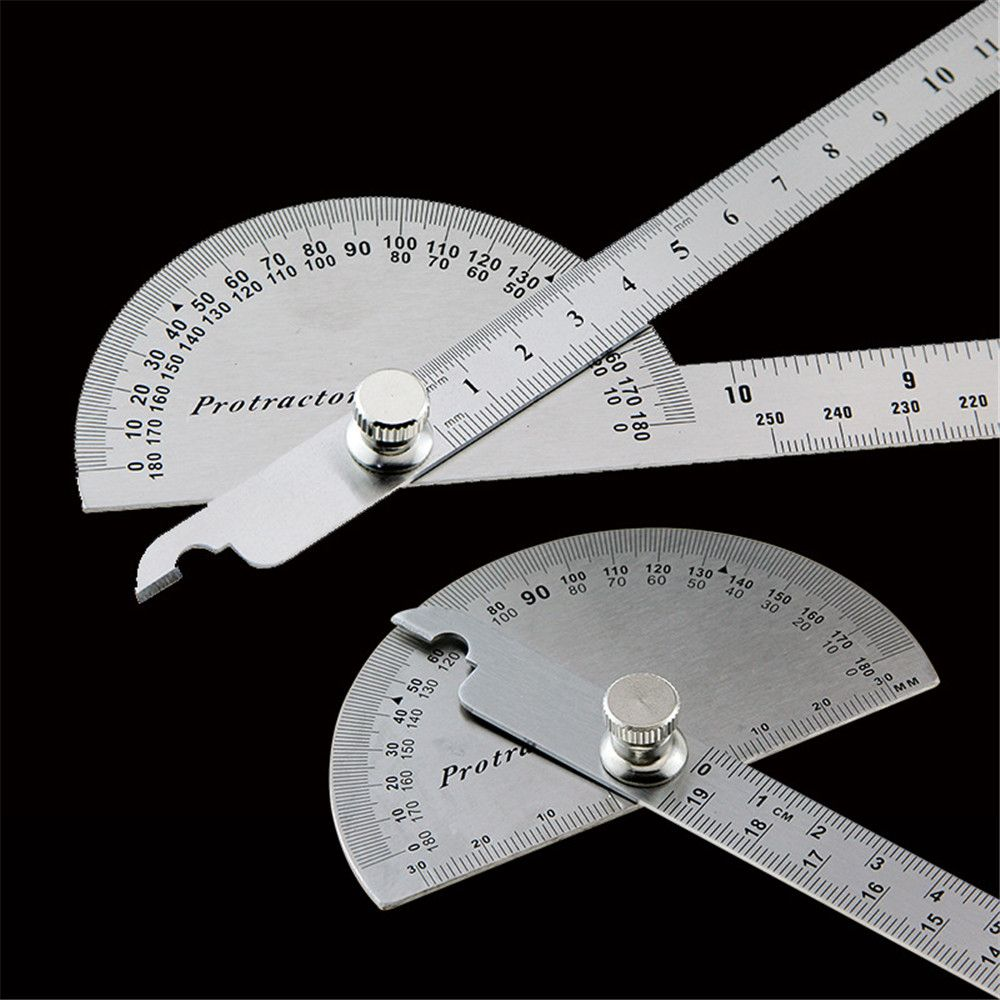 Stainless Steel 180° Protractor Round Head Rotary Angle Rule Finder Ruler RLTS