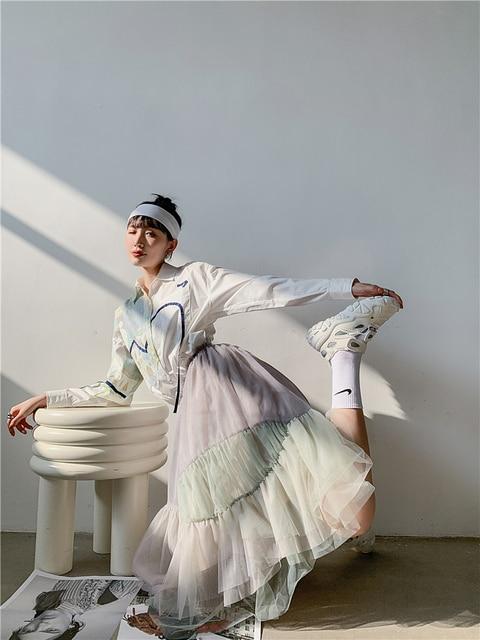 CHEERART Autumn Aesthetic Shirt Long Sleeve Top Women Blouse Cotton Print Button Up Collar Designer Shirt Fashion 2020 4