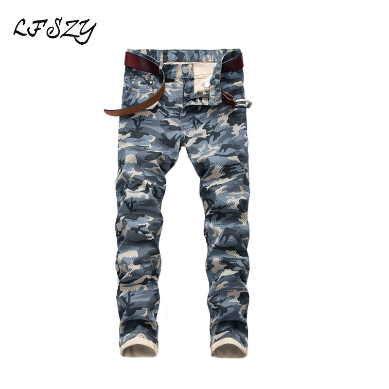 Jeans Men 2019 New Men's Camouflage Jeans Men's Slim Fit Army Green Print Casual Pants More Sizes 28-40 42