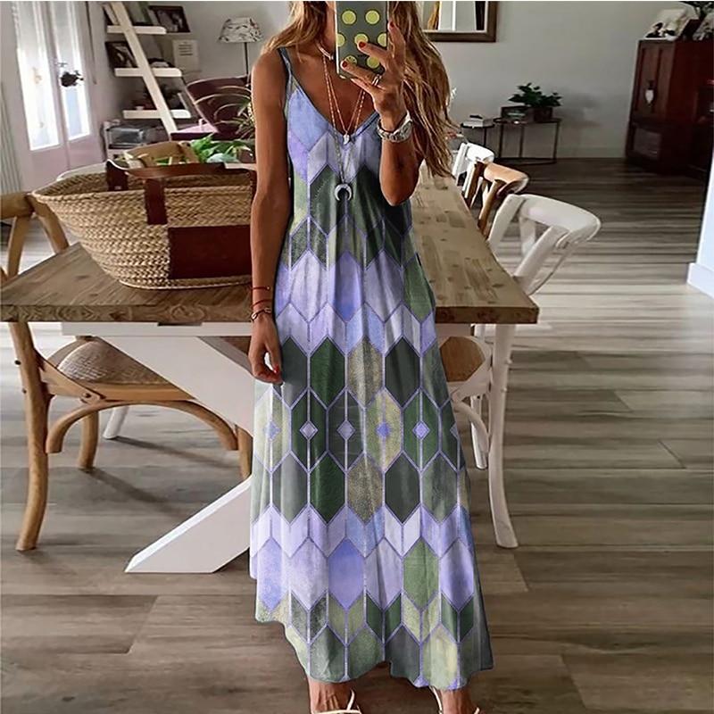 Women's Summer Casual Printed Camisole Long Dress Fashion Sexy Plus Size Dress Bohemian Dress 2