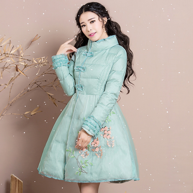 Winter 2019 women cultivate morality show slim collar black fungus long white duck   down     coats   embroidery