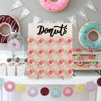 PATIMATE Donut Wall Holds Stand Sweet Cart Rustic Wedding Table Decor Doughnut Birthday Party Candy Bar Baby Shower Donut Party wooden wall holds donut boards stand hanging donuts table wedding decoration accessories baby shower kids birthday party decor