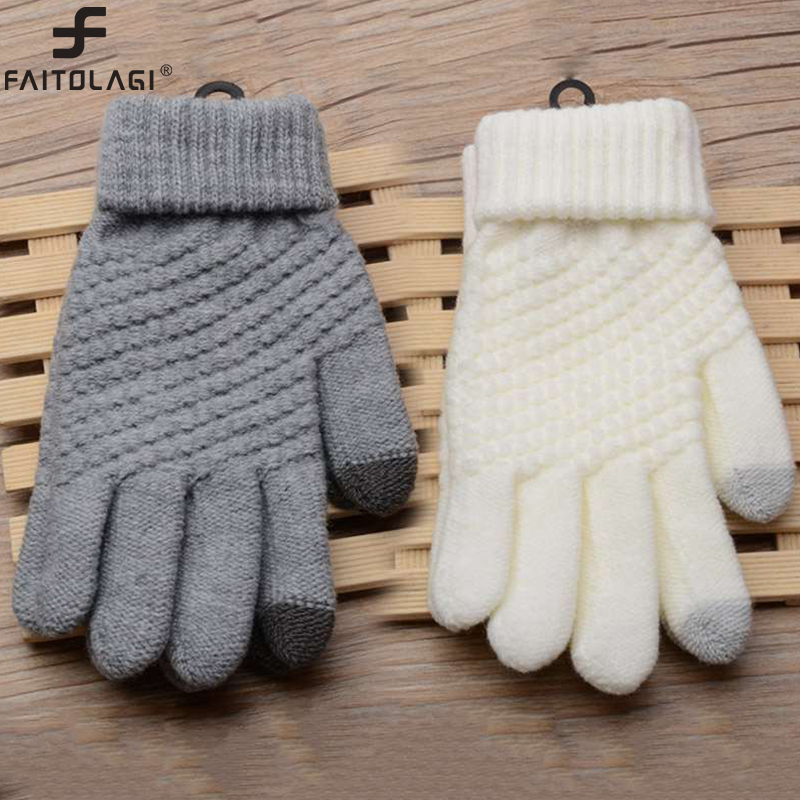 Magic Touch Screen Sensory Gloves For Women Gloves Girl Female Stretch Knit Gloves Mittens Winter Warm Accessories Wool Guantes(China)