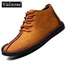 Valstone 2020ฤดูใบไม้ผลิฤดูใบไม้ร่วงฤดูใบไม้ร่วงรองเท้าหนังผู้ชายHandmadeรองเท้าผ้าใบVintage Medium Top Boots Zapatos De Hombre Plusขนาด48