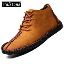 Мужские кожаные кроссовки Valstone, повседневная обувь ручной работы, Винтажные ботинки средней высоты, большие размеры 48, весна осень 2020