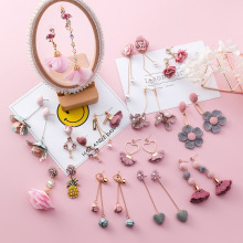 Korea Trendy Cute Drop Earrings Girl Simple Pink Fabric Flower Rhinestone Dangle for Fashion Women Jewelry Accessories