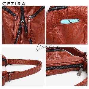 Image 4 - CEZIRA Large Washed PU Women Backpack Functional School Bag Luxury Vegan Leather Shoulder Laptop Bags Female Casual Zip knapsack