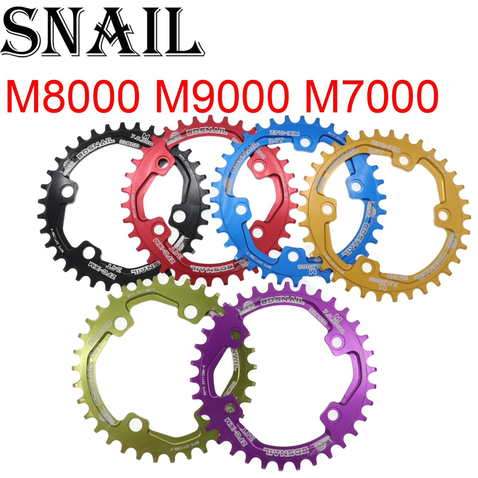 Snail <font><b>Chainring</b></font> Round for Shimano <font><b>M7000</b></font> M8000 M9000 30T/32T/34T/36T/38T 96 BCD Cycling Bike Bicycle Chainwheel tooth plate 96bcd image