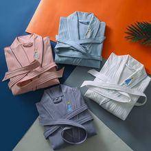 100% Cotton Lovers Bathrobe Embroidery Soft Homewear Women Sleepwear Men Pajamas Dressing Gown Five-Star Hotel Robes for SPA