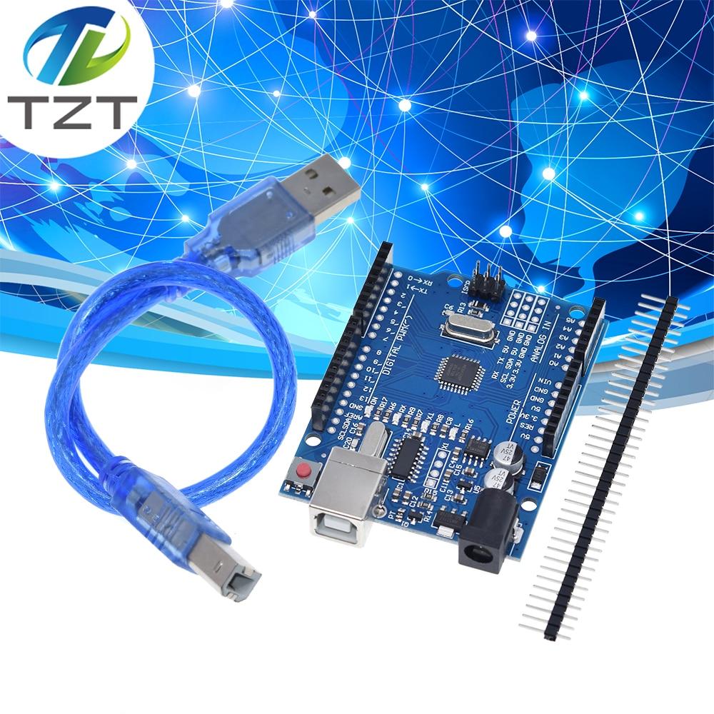 Один комплект высококачественных чипов UNO R3 CH340G + MEGA328P 16 МГц для макетной платы Arduino UNO R3 + USB кабель|uno r3|cable electronicuno arduino | АлиЭкспресс
