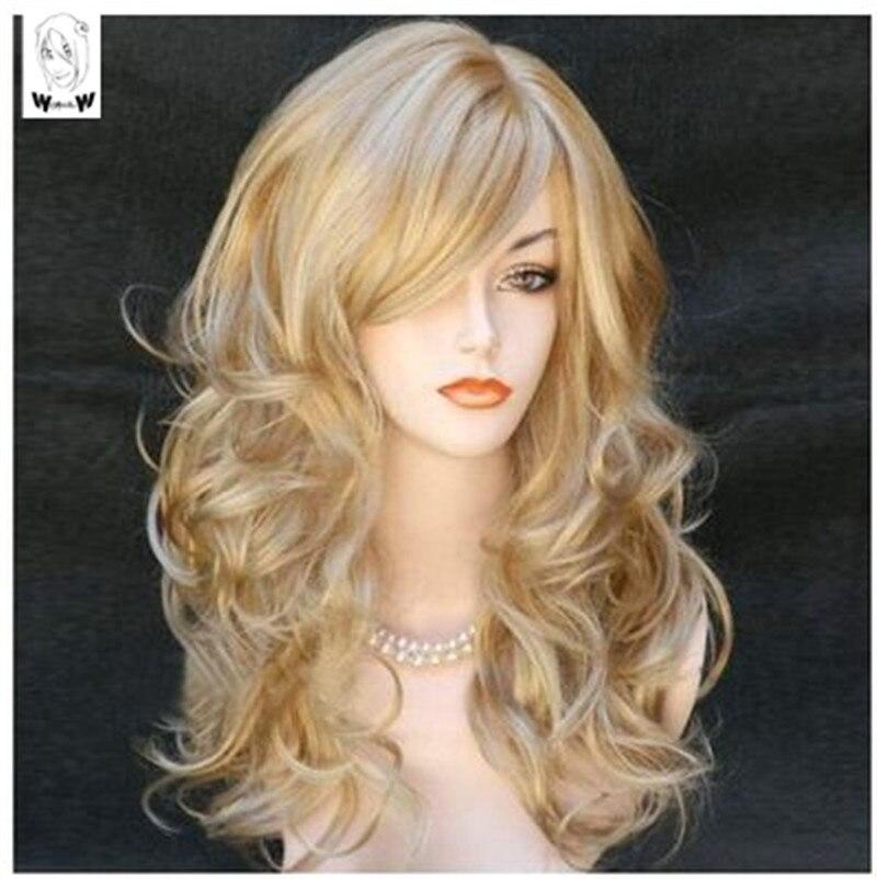 Чудесные W длинные волнистые смешанные светлые парики натуральные термостойкие волосы синтетический парик для женщин