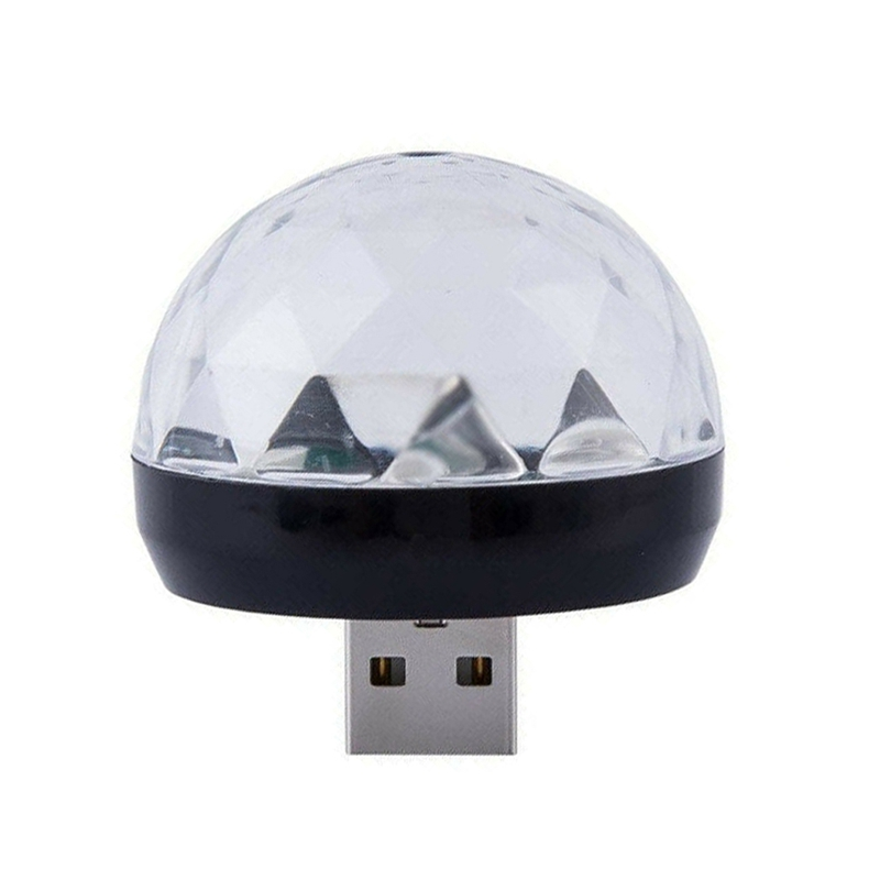 Usb Mini Led Disco Magic Light Ball Portable Karaoke Party Decor Lamp Dj Stage Bar With Android Mic-Usb Adapter Black