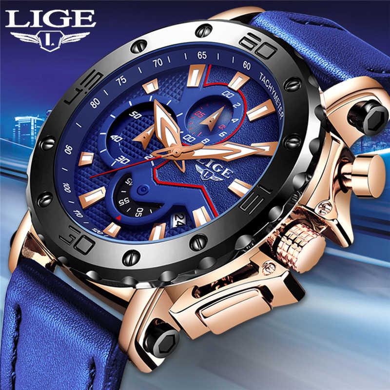 LIGENew relojes de moda para hombre de marca superior reloj de cuarzo militar de esfera grande de lujo de cuero azul a prueba de agua reloj de cronógrafo deportivo para hombre