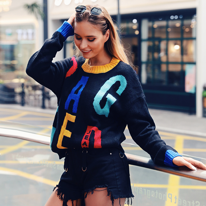 WannaThis Letter Embroidery Black Patchwork Sweater Women ONeck Loose Casual Warm Winter Long Sleeve Pullover Streetwear Jumper in Pullovers from Women 39 s Clothing