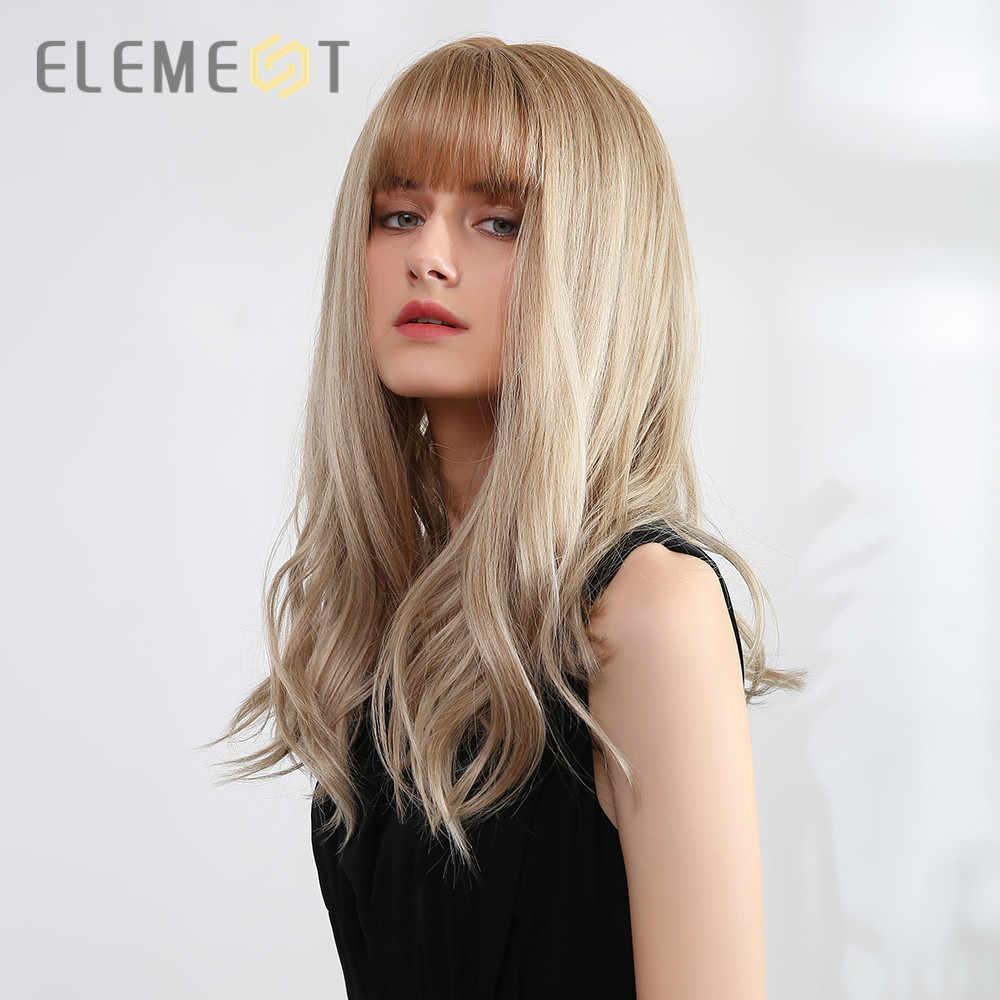 Element Synthetische Pruiken Lange Rechte Kapsel Ombre Brown Blond Pruiken Met Pony Voor Wit/Zwarte Vrouwen