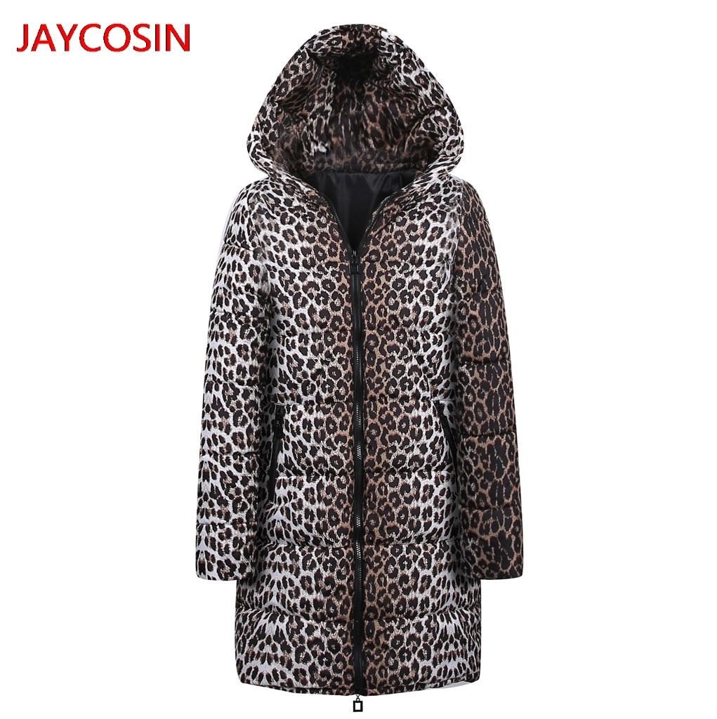 JAYCOSIN Women's   Parkas   Womens Winter Long Down Cotton Leopard Print   Parka   Hooded Coat Jacket Outwear New Arrival L4008029