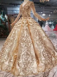 Image 4 - Robe de mariée dorée Vintage à manches longues, tenue de mariée luxueuse de bonne qualité à manches longues, longueur de plancher, perles, 2020