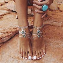Женщины% 27 бохо бирюза бусины браслет кисточки цепочки босиком сандалии украшения