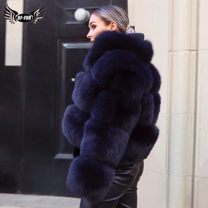 Natural Short Real Fox Fur Coat For Women With Stand Collar Thick Warm Winter Genuine Fox Fur Jacket High Quality Fur Overcoats