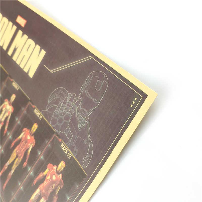 Hero Iron Man Armatura Vintage Poster Decorazione Della Stanza Autoadesivi Della Decorazione Della Parete di Carta Kraft Complementi Arredo Casa Autoadesivo della parete Manifesti di Film