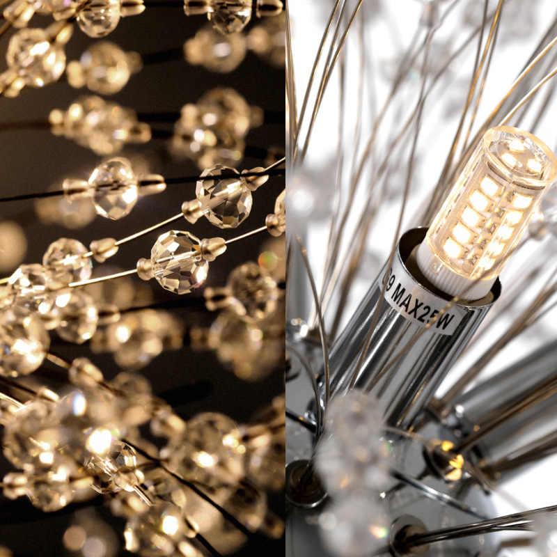 Modern Dandelion LED Lampu Gantung untuk Ruang Tamu Kamar Tidur Besi Tempa Langit-langit Lampu Gantung Kristal Kembang Api Liontin Lampu Gantung