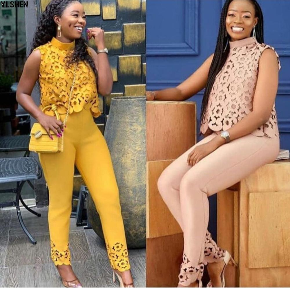 2 Pieces Set African Clothes Tops + Pants Suits Ankara African Dresses for Women Laser Firing Vetement Robe Africaine Femme 2019