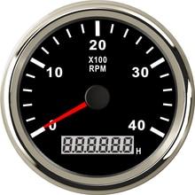 цена на Tachometer Car Truck Boat Tacho Gauge With LCD Digital Hourmeter Waterproof 3/4/6/7/8k RPM Speed 85mm