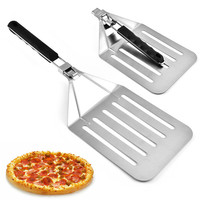 Stainless Steel Cake Transfer Shovel Oversize Pizza Shovel Foldable Leaky Shovel Stainless Steel Kitchen Supplies Pizza Stone