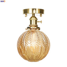IWHD Creative Carved Glass Ball Ceiling Light With Switch Copper Nordic LED Lamp Modern Bedroom Vintage Fixtures