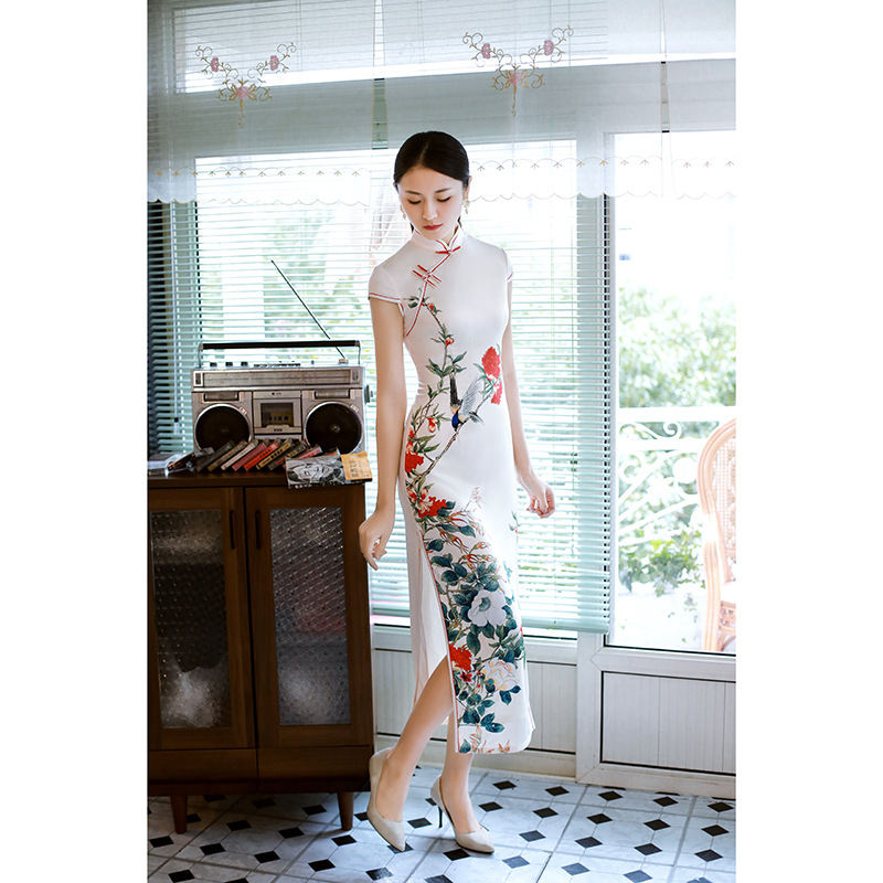Hung Rhyme Dream 2019 Imitated Silk Fabric Long Printed Cheongsam Chinese Style Retro Dress Catwalks Formal Dress Large Size Che