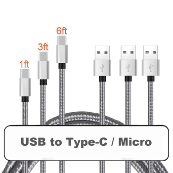 0.25m 1m 2m USB Micro Type C Charge Cable for Android Mobile Phone Charging Cable Micro Type- C USB Cable 2A Fast Charge image