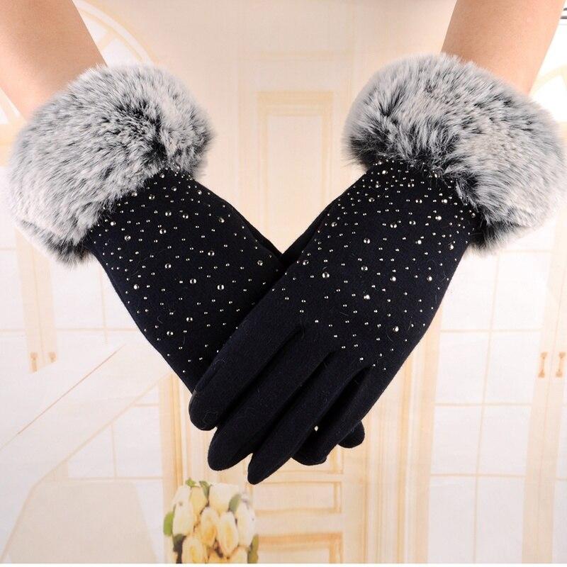 Women Finger Gloves Thicken Winter Keep Warm Mittens Female Faux Fur Elegant Gloves Hand Warmer High Quality